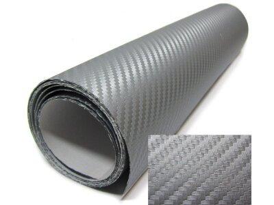 3D cargutscheinfaser folie - silber 30x153cm