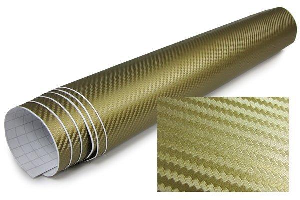 3D Karbonska folija - zlatna 30x153cm