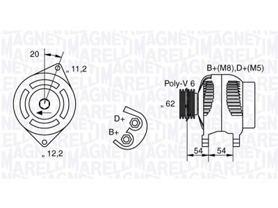 Alternator Alfa Romeo, Fiat, Lancia, 100 A, 62 mm