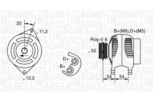 Alternator Alfa Romeo, Fiat, Lancia, 100 A, 62 mm