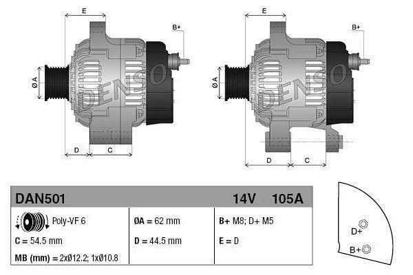Alternator Alfa Romeo, Fiat, Lancia, 105 A, 62 mm