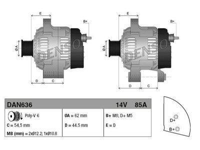 Alternator Alfa Romeo, Fiat, Lancia, 85 A, 62 mm