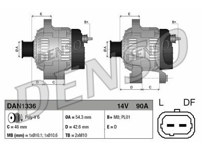 Alternator Citroen, Fiat, Lancia, Peugeot, 90 A, 54,3 mm