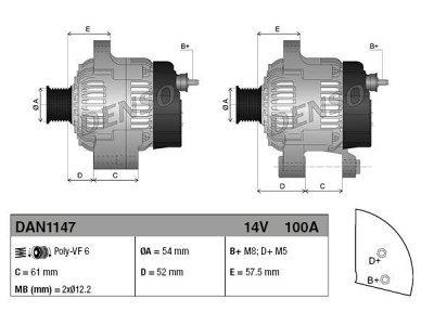 Alternator Fiat, Lancia, 100 A, 54 mm