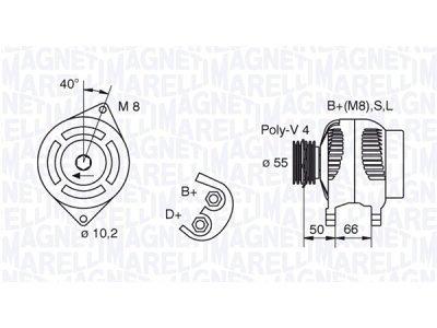 Alternator Fiat, Lancia, 75 A, 55 mm