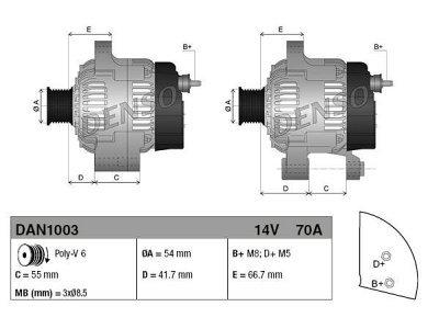 Alternator Fiat, Lancia, Ford, 70 A, 54 mm