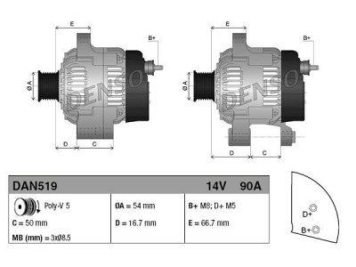 Alternator Fiat, Lancia, Ford, 90 A, 54 mm