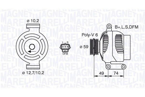 Alternator Fiat Mondeo 00-07, 124 A, 59 mm