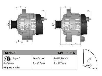 Alternator Ford, Fiat, 105 A, 54 mm