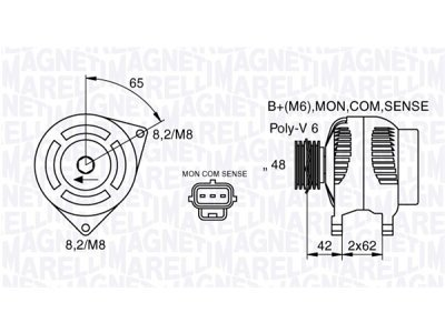 Alternator Ford Focus 98-04, 80 A, 48 mm