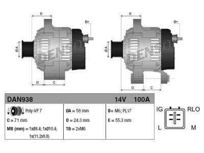Alternator Ford Focus, C-max, 100 A, 58 mm