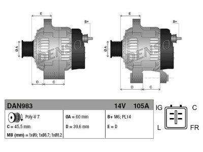 Alternator Honda Accord 03-08, 105 A, 60 mm