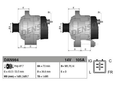 Alternator Honda FRV 05-, 105 A, 70 mm