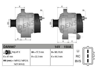 Alternator Land Rover Range Rover Sport 05-13, 150 A, 57,5 mm