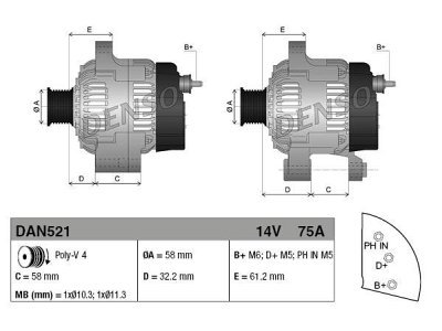 Alternator Smart Fortwo 04-07, 75 A, 58 mm