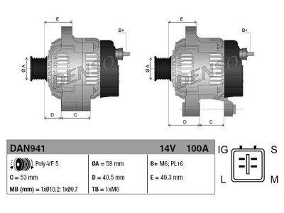 Alternator Toyota Avensis, Corolla, 100 A, 58 mm