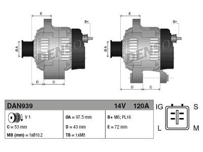 Alternator Toyota Avensis, Corolla, 120 A, 97,5 mm