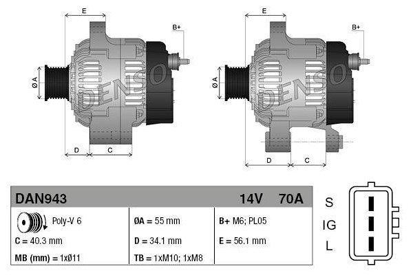 Alternator Toyota Corolla 00-07, 70 A, 55 mm