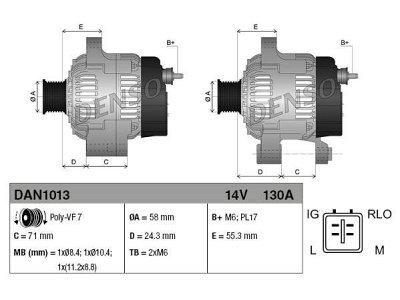 Alternator Toyota, Lexus, 130 A, 58 mm