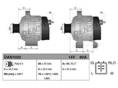 Alternator Toyota Yaris 05-, 80 A, 60 mm