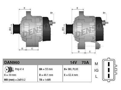 Alternator Toyota Yaris 99-05, 70 A, 55 mm