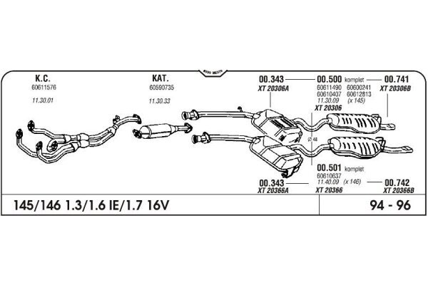 Auspuff Alfa 145 1.3/1.6/1.7 16V 94-96 Komplett