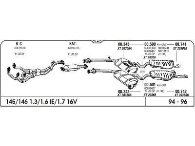 Auspuff Alfa 146 1.3/1.6/1.7 16V kat 94- Komplett