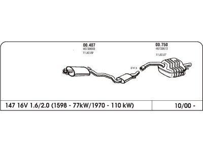 Auspuff Alfa 147 1.6/2.0 16V 00-Hinterer