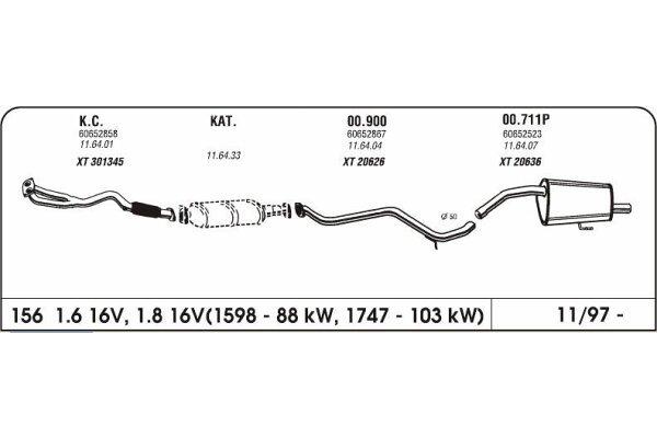 Auspuff Alfa 156 1.6/1.8/2.0 16V 97-Hinterer