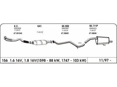 Auspuff Alfa 156 1.6/1.8/2.0 16V 97- Hinterer