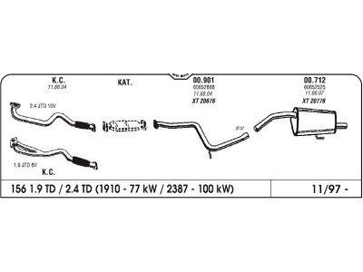 Auspuff Alfa 156 2.5 V6/1.9/2.4 JTD/2.0 JTS 97 Hinterer
