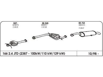 Auspuff Alfa 166 2.4 98-Vorderer