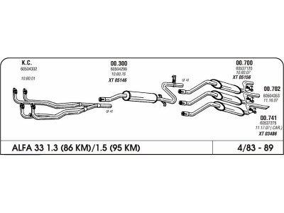 Auspuff Alfa 33 1.3-1.7 83 Hinterer