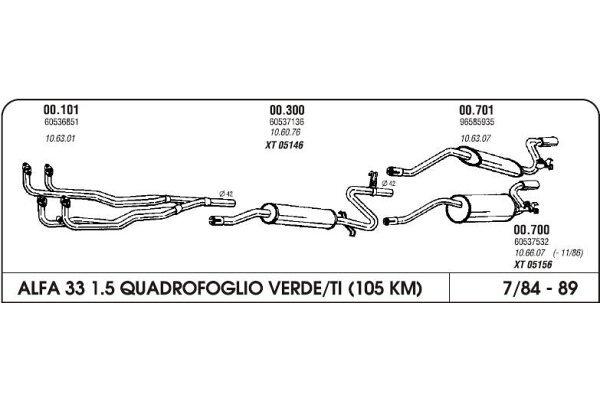 Auspuff Alfa 33 1.5 4x4 84-89 Hinterer