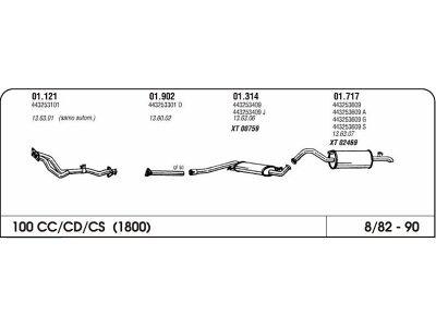 Auspuff Audi 100 1.8 82-90 Hinterer