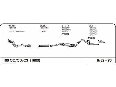 Auspuff Audi 100 1.8 82-90 mittlere