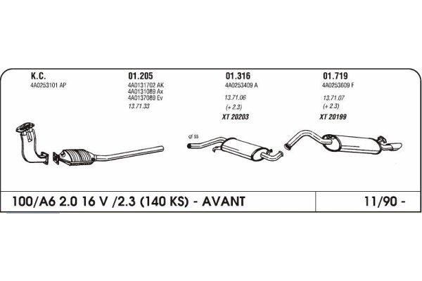 Auspuff Audi 100/A6 2.0/2.3 90- mittlere