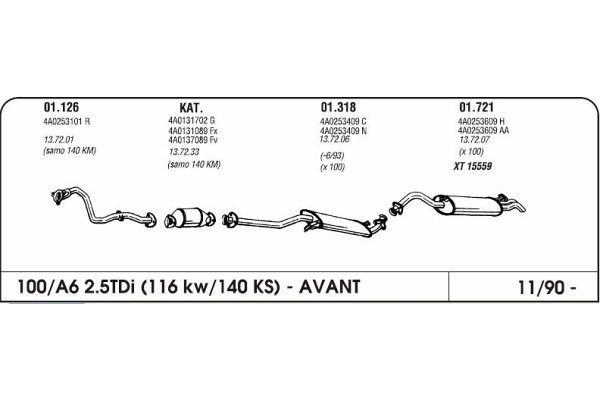 Auspuff Audi 100/A6 2.5 90-Hinterer
