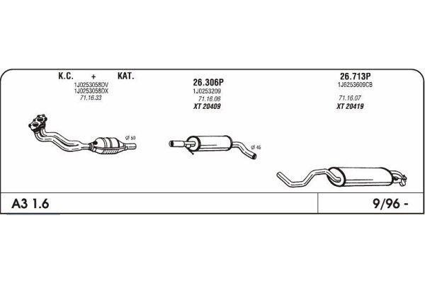 Auspuff Audi A3 1.6 96-mittlere