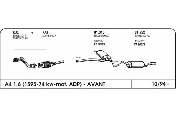 Auspuff Audi A4 1.6 94-Hinterer