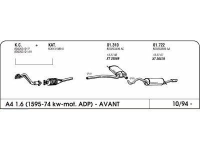Auspuff Audi A4 1.6 94-mittlere