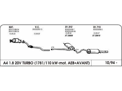 Auspuff Audi A4 1.8 94-Hinterer