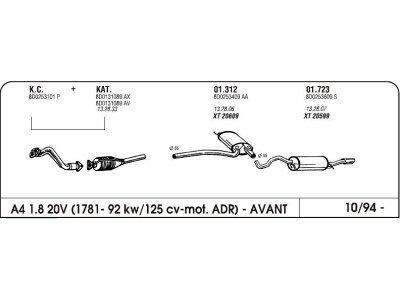 Auspuff Audi A4 1.8 94-mittlere