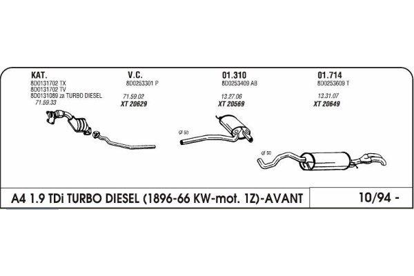 Auspuff Audi A4 1.9 94-mittlere