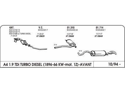 Auspuff Audi A4 1.9 96-Hinterer