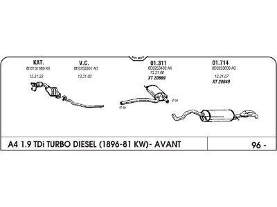 Auspuff Audi A4 1.9 96-mittlere