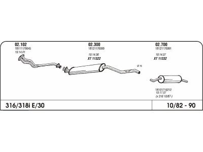 Auspuff BMW 3 E30 1.6 82-87 Hinterer