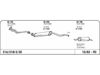 Auspuff BMW 3 E30 1.8 82-87-Hinterer
