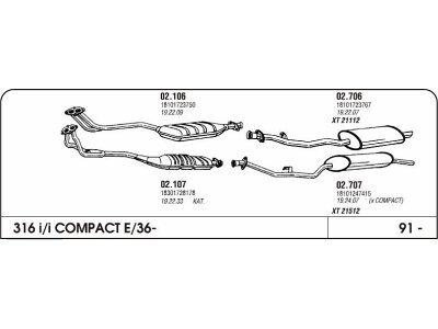 Auspuff BMW 3 E36 1.6 91-Hinterer