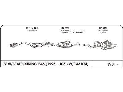 Auspuff BMW 3 E46 1.8 01-Hinterer